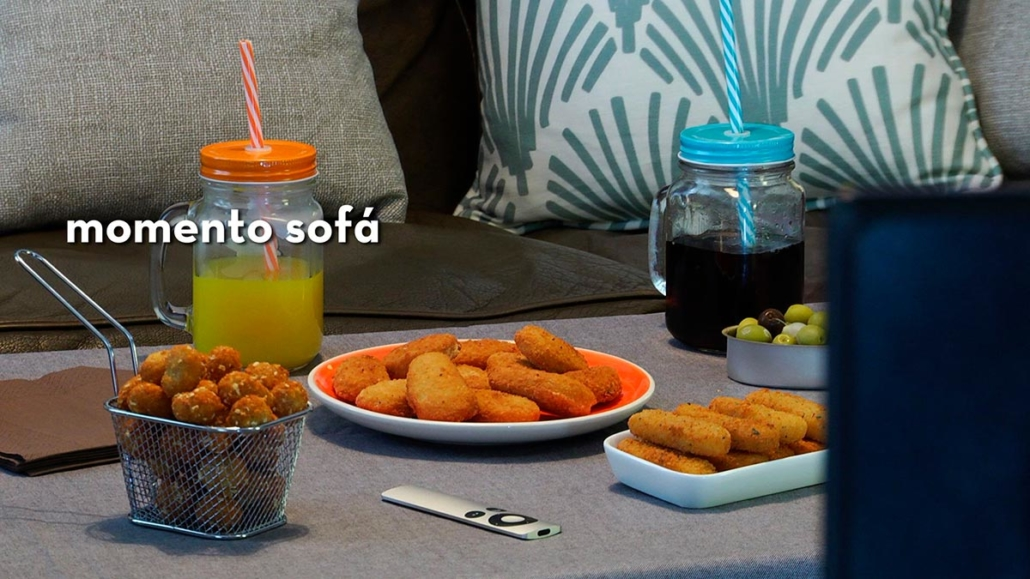 Momento sofá: pop nuggets, fingers mozzarella y nugggets